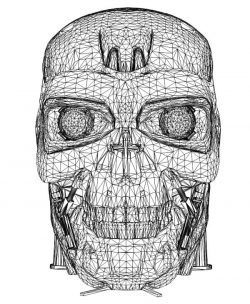 Robot head T-800 file cdr and dxf free vector download for laser engraving machines
