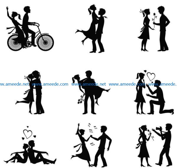 Romantic love file cdr and dxf free vector download for Laser cut Plasma