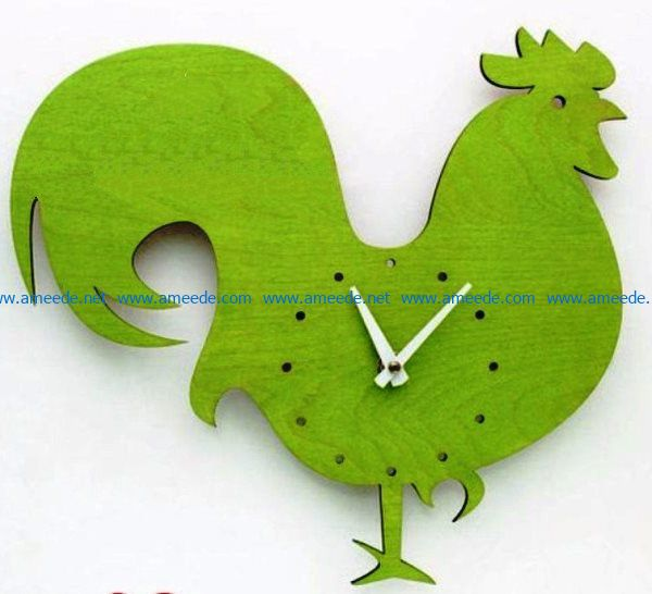 Rooster clock file cdr and dxf free vector download for Laser cut