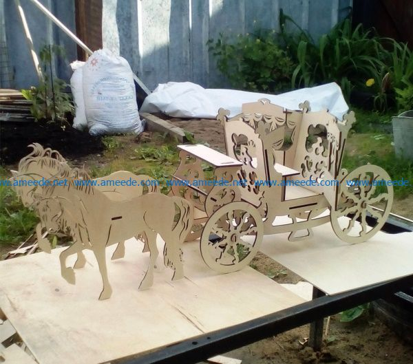 Royal horse wagon file cdr and dxf free vector download for Laser cut