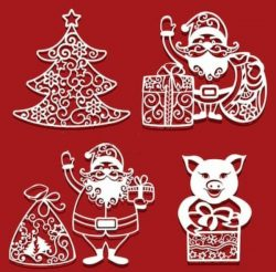 Santa claus and pig with christmas presents free vector download for Laser cut