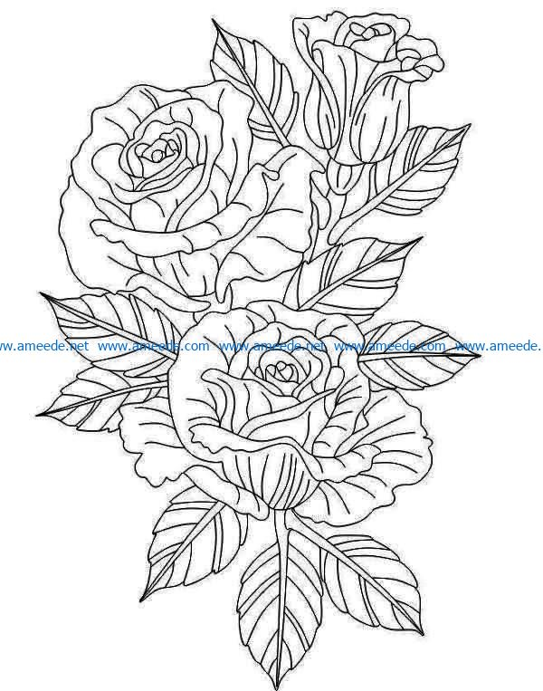 Beautiful rose branches file cdr and dxf free vector download for print or laser engraving machines