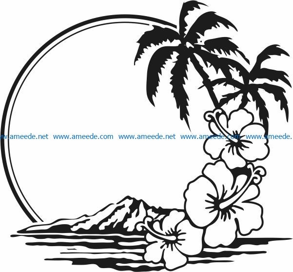 Sea and mountain landscape file cdr and dxf free vector download for Laser cut Plasma