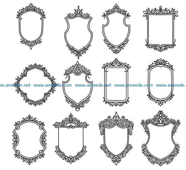 Shield decorative frame file cdr and dxf free vector download for Laser cut CNC