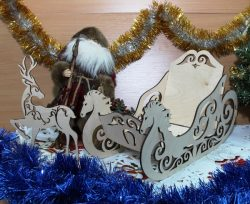 Sleigh and reindeer  file cdr and dxf free vector download for Laser cut