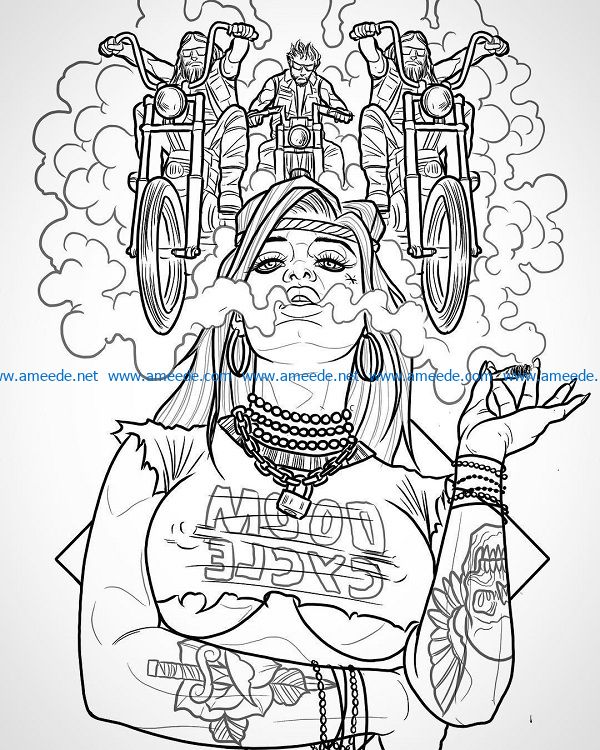 Smoking girl file cdr and dxf free vector download for print or laser engraving machines