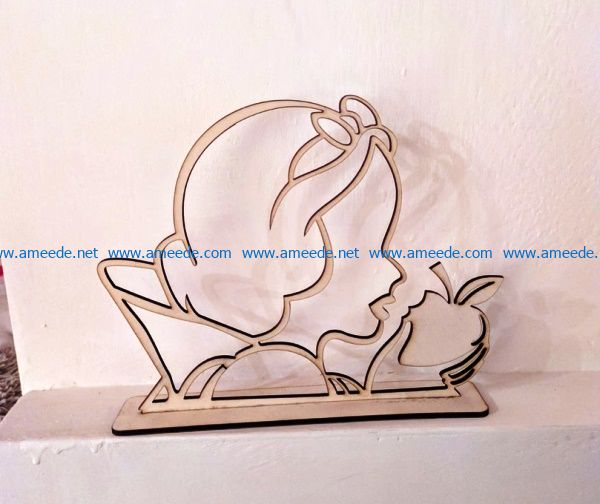 Snow White with Apple file cdr and dxf free vector download for Laser cut