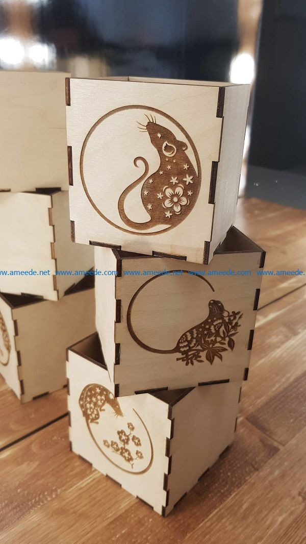Square box with mouse file cdr and dxf free vector download for Laser cut