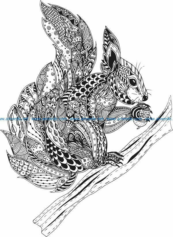 Squirrel on wooden stick file cdr and dxf free vector download for print or laser engraving machines