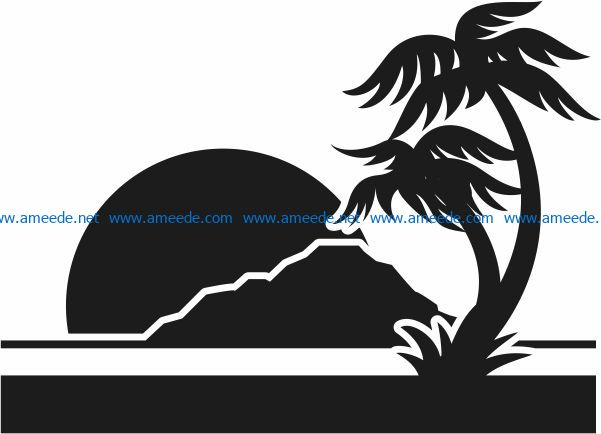 Sunset at sea file cdr and dxf free vector download for Laser cut Plasma