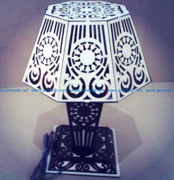 Table lamp with lampshade file cdr and dxf free vector download for Laser cut