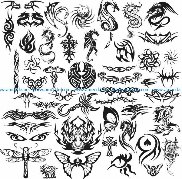 Tattoo template file cdr and dxf free vector download for print or laser engraving machines