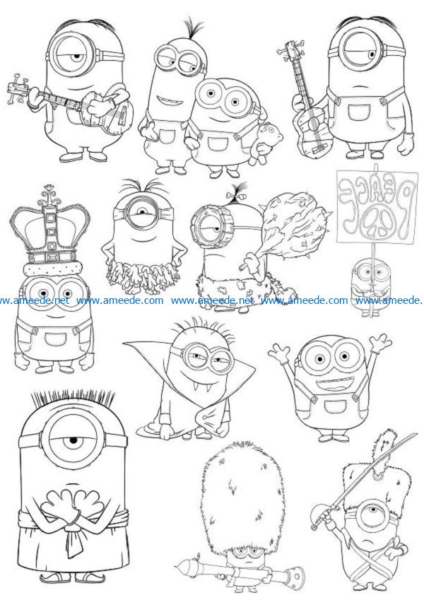 The expressive minnions file cdr and dxf free vector download for print or laser engraving machines