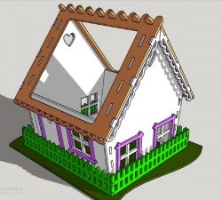 The house has a glass roof file cdr and dxf free vector download for Laser cut