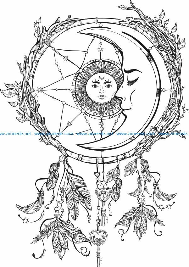 The moon embraces the sun file cdr and dxf free vector download for print or laser engraving machines