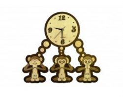 Three monkeys clock file cdr and dxf free vector download for Laser cut
