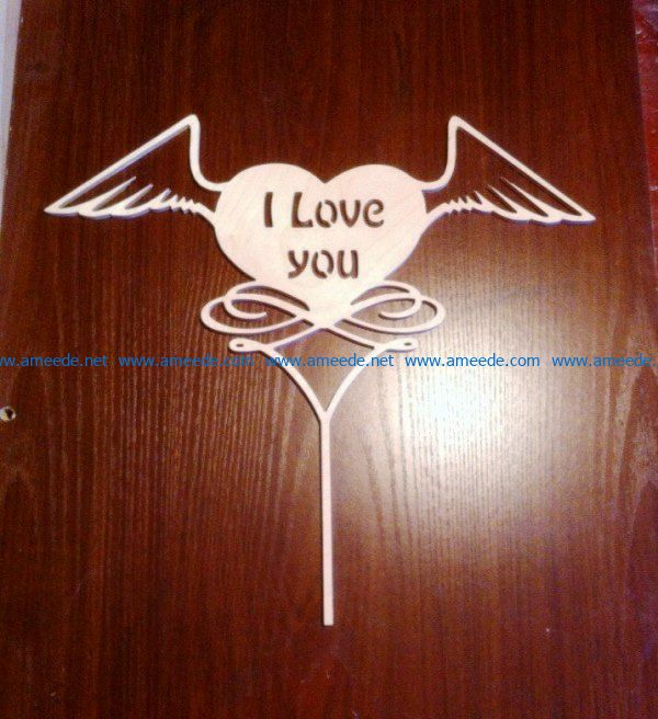 Topper i love you file cdr and dxf free vector download for Laser cut