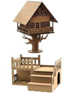Tree House file cdr and dxf free vector download for Laser cut