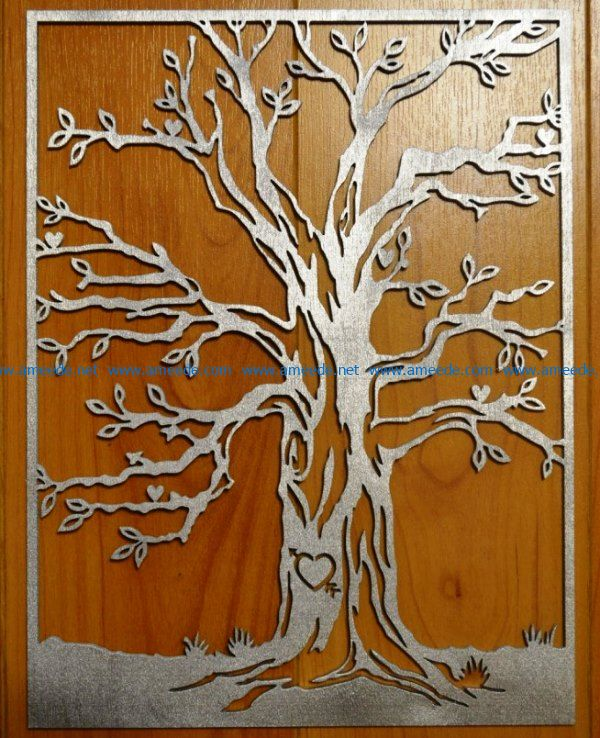Tree carved hearts file cdr and dxf free vector download for Laser cut