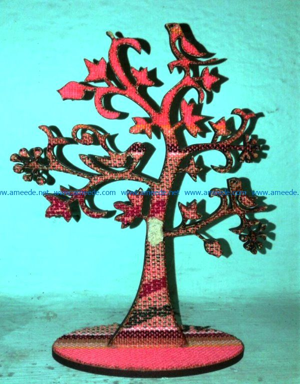 Tree with bird file cdr and dxf free vector download for Laser cut