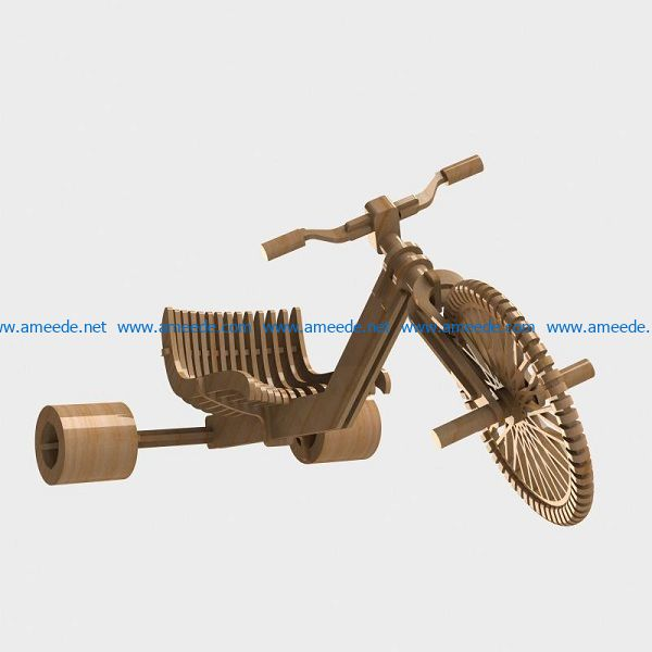 Tricycle model file cdr and dxf free vector download for Laser cut