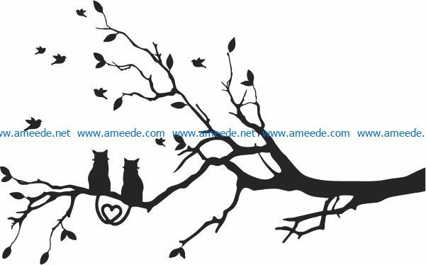 Two cats on a tree branch file cdr and dxf free vector download for print or laser engraving machines