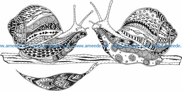 Two snails file cdr and dxf free vector download for print or laser engraving machines