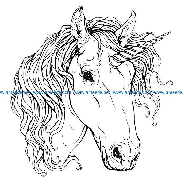 Unicorn file cdr and dxf free vector download for print or laser engraving machines