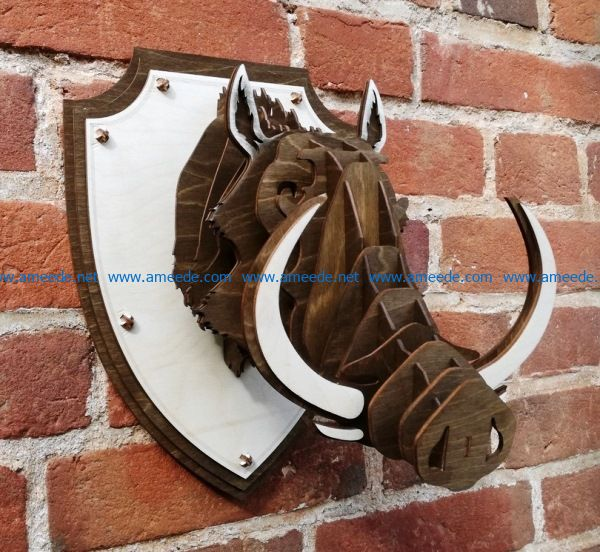 Warthog head file cdr and dxf free vector download for Laser cut CNC