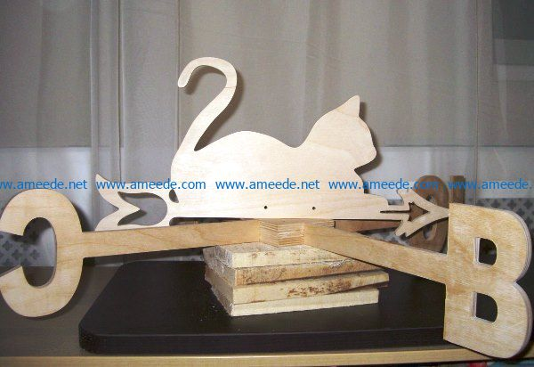 Weather vane cat file cdr and dxf free vector download for Laser cut