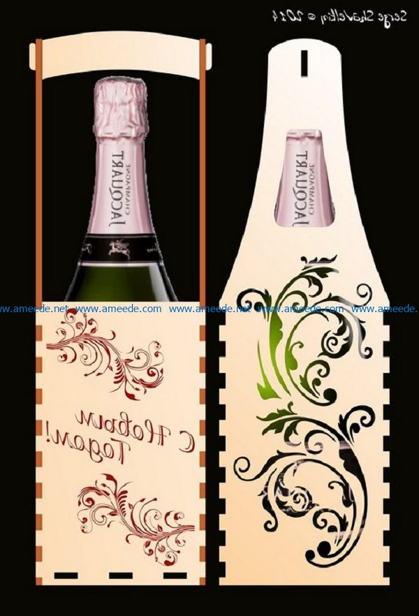 Wine bottle card file cdr and dxf free vector download for Laser cut