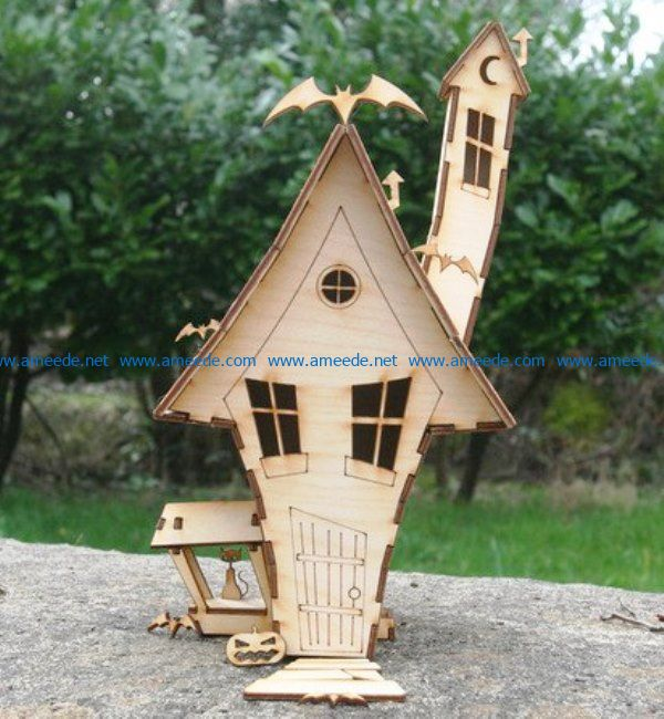 Witch house file cdr and dxf free vector download for Laser cut