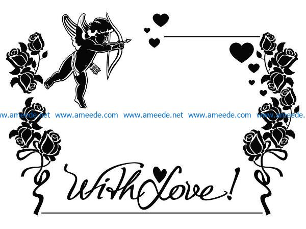 With love file cdr and dxf free vector download for print or laser engraving machines