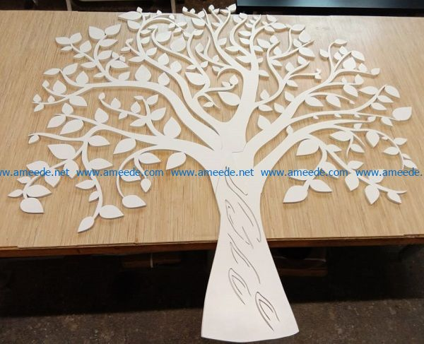 Wood tree file cdr and dxf free vector download for print or laser engraving machines