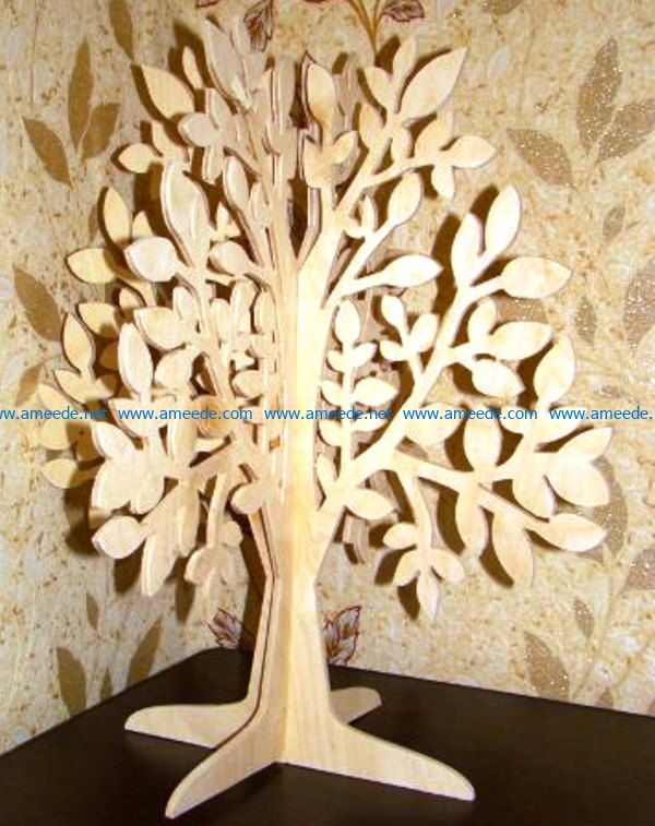 Wooden 3d tree file cdr and dxf free vector download for Laser cut