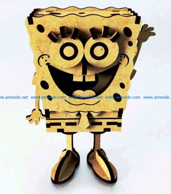 Wooden Spanchbob file cdr and dxf free vector download for Laser cut