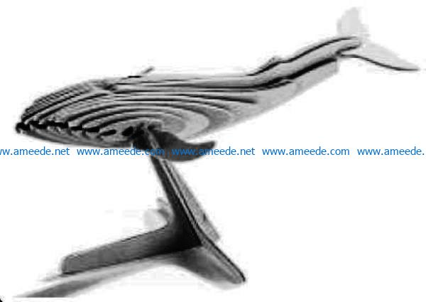 Wooden Whale file cdr and dxf free vector download for Laser cut