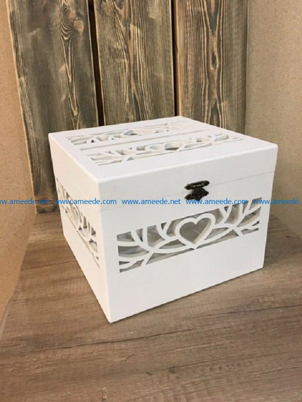 Wooden box with heart engraving file cdr and dxf free vector download for Laser cut