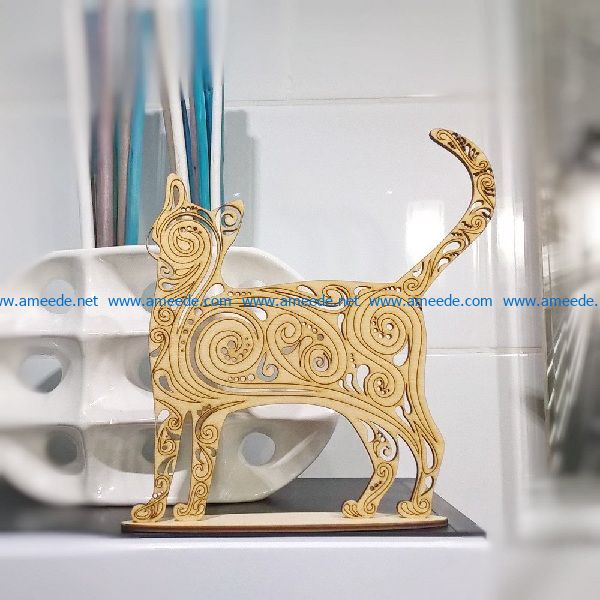 Wooden cat file cdr and dxf free vector download for print or laser engraving machines