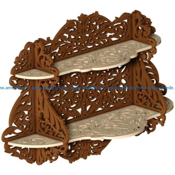 Wooden wall shelves two floors file cdr and dxf free vector download for Laser cut CNC