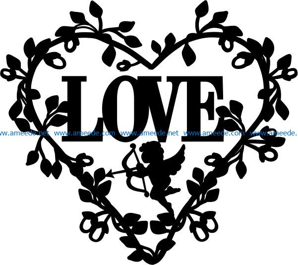 Wreath of heart with cupid file cdr and dxf free vector download for Laser cut