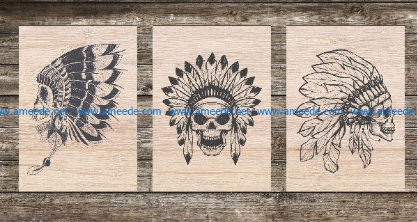 aboriginal skull file cdr and dxf free vector download for Laser cut