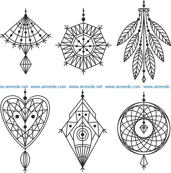 accessories vector set file cdr and dxf free vector download for print or laser engraving machines