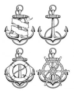 anchor and steering wheel file cdr and dxf free vector download for print or laser engraving machines