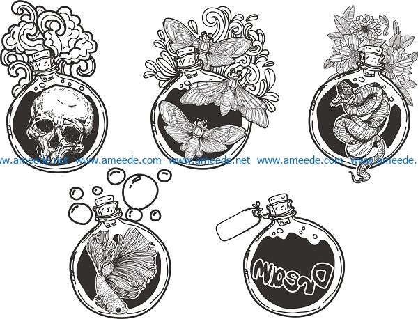 art bottle design file cdr and dxf free vector download for print or laser engraving machines