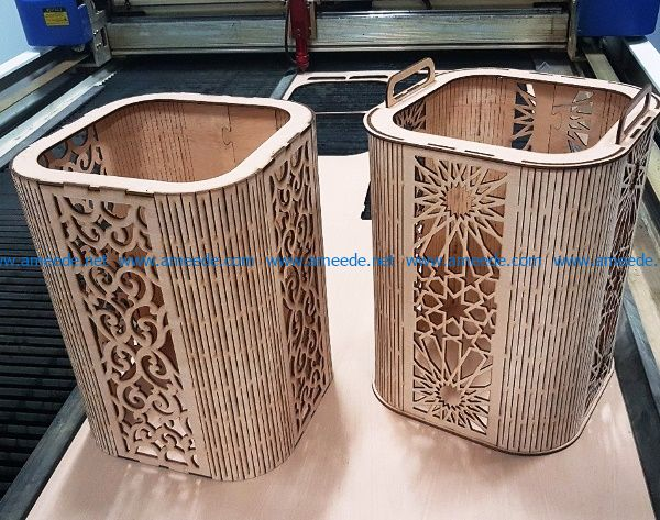 basket with arabic pattern file cdr and dxf free vector download for Laser cut