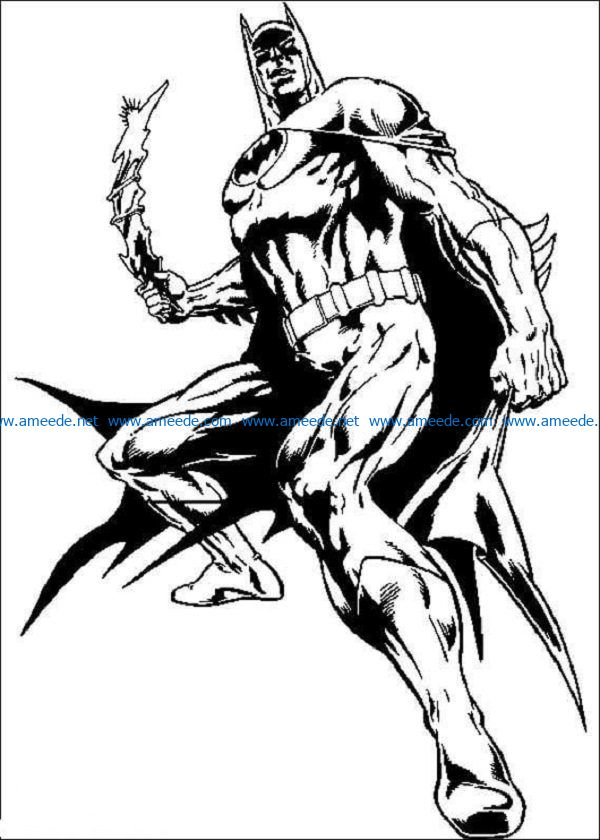 batman-and-his-weapon-coloring-page file cdr and dxf free vector download for print or laser engraving machines