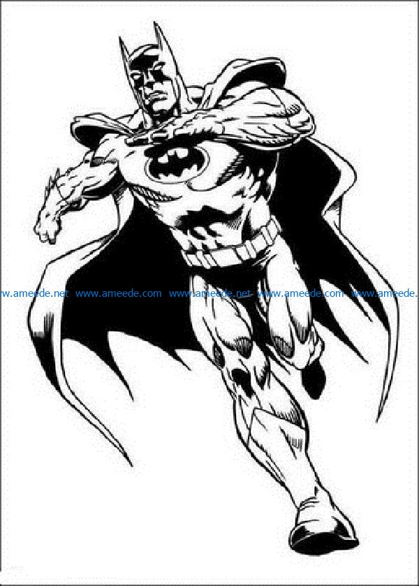 batman-is-running-coloring-page file cdr and dxf free vector download for print or laser engraving machines