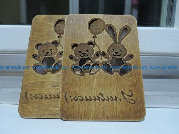 bear rabbits file cdr and dxf free vector download for Laser cut