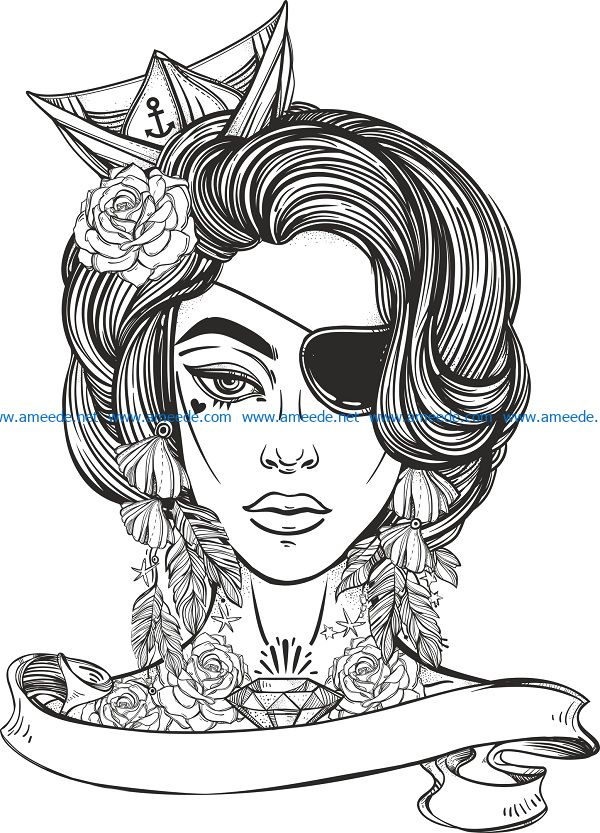 beauty woman print file cdr and dxf free vector download for print or laser engraving machines